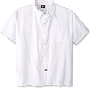 Dickies Camisa de cocinero con botones a presión para hombre, talla grande