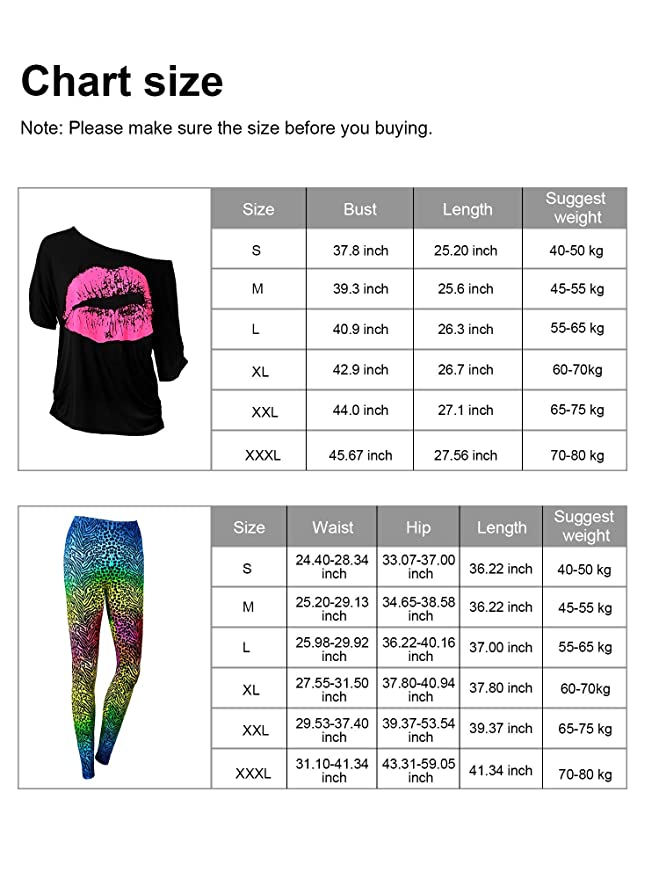 Casual Oversize Off Shoulder Lips Print T Shirt with 80s Legging Pants 80s Women Costume Set