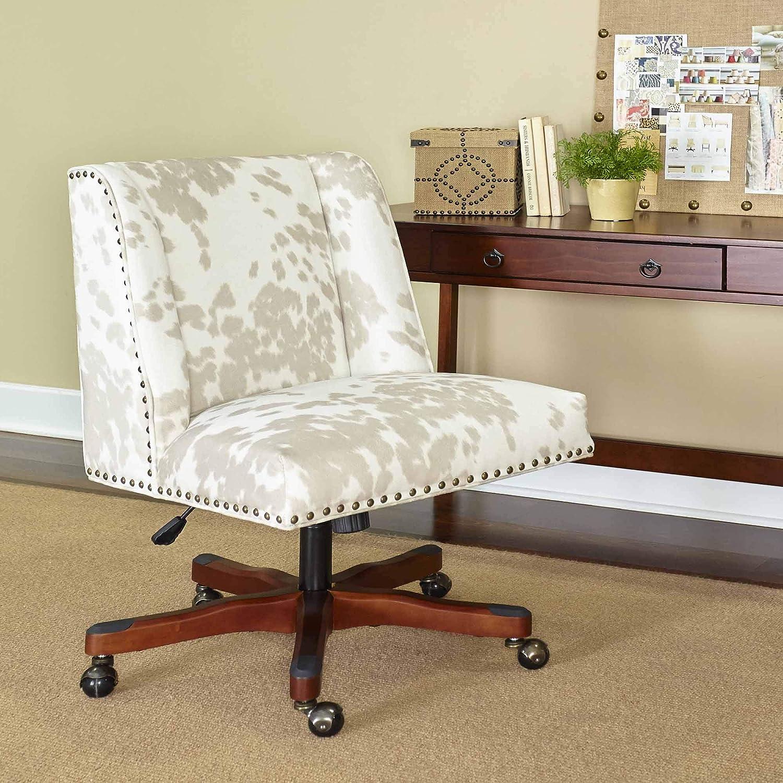 Linon Home Décor Linon Draper Linen Cow Print Office Chair, Walnut