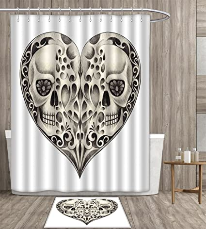 Day Of The Dead Shower Curtain Customize Twin Half Fire Design In Heart Shapes Festive Spanish