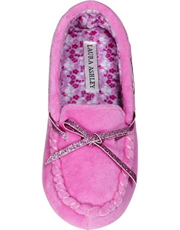 e73833a1d059 Laura Ashley Kids Girls Fleece Glitter and Bow Moccasins Floral Pink (See  Sizes)