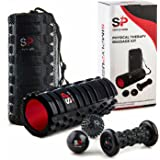 DELUXE 5-IN-1 FOAM ROLLER SET for Athletes- High Density Yoga Rollers, Spiky & Smooth Massage Balls, & Foot Massager for Trigger Point Release & Physical Therapy, Relaxes Muscles and Knots
