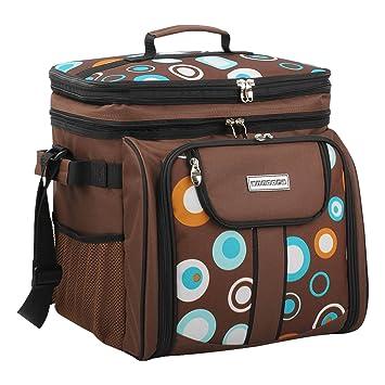 3e904c62b438a anndora Picknicktasche braun Retro Kühltasche inkl. Zubehör 4 Personen 29  Teile