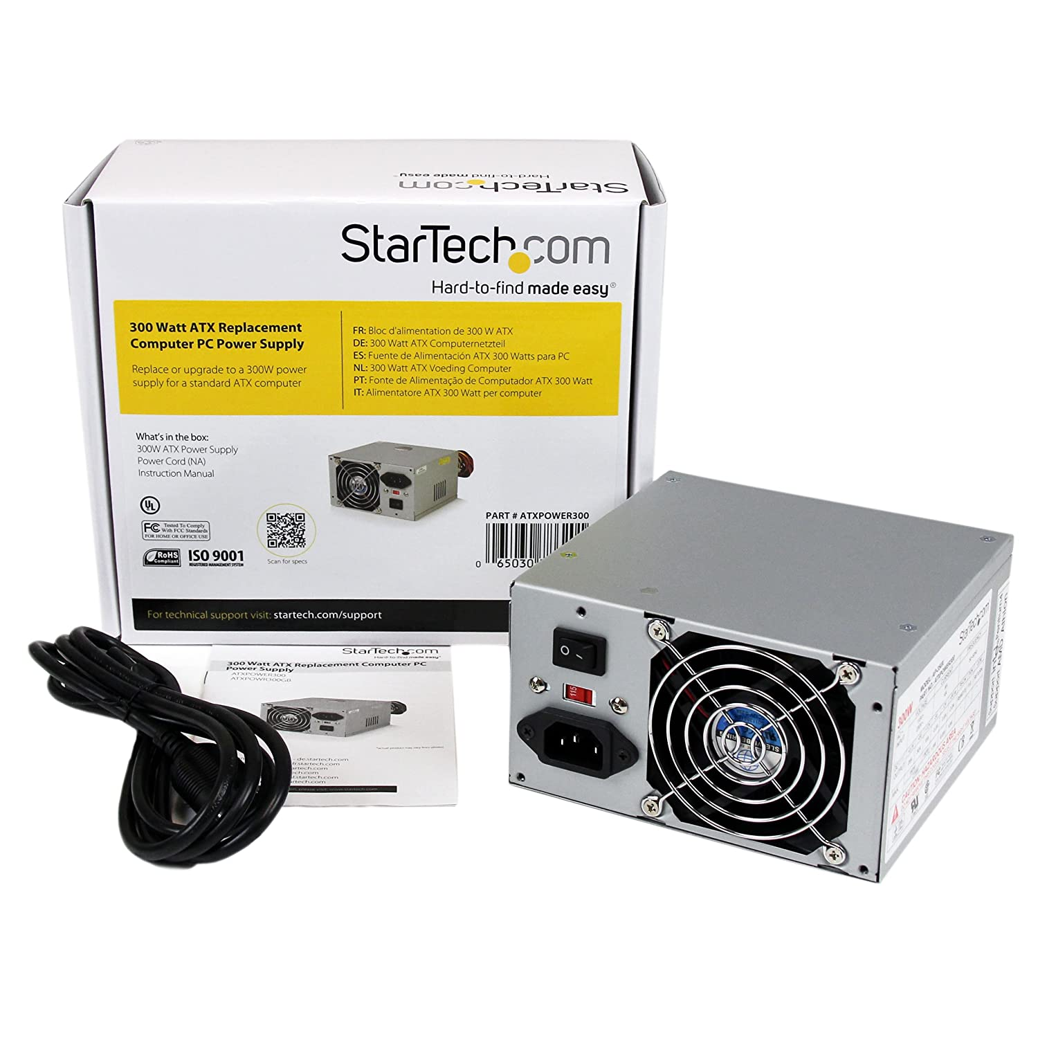 Amazon.com: StarTech.com 300 Watt ATX Replacement Computer PC Power ...