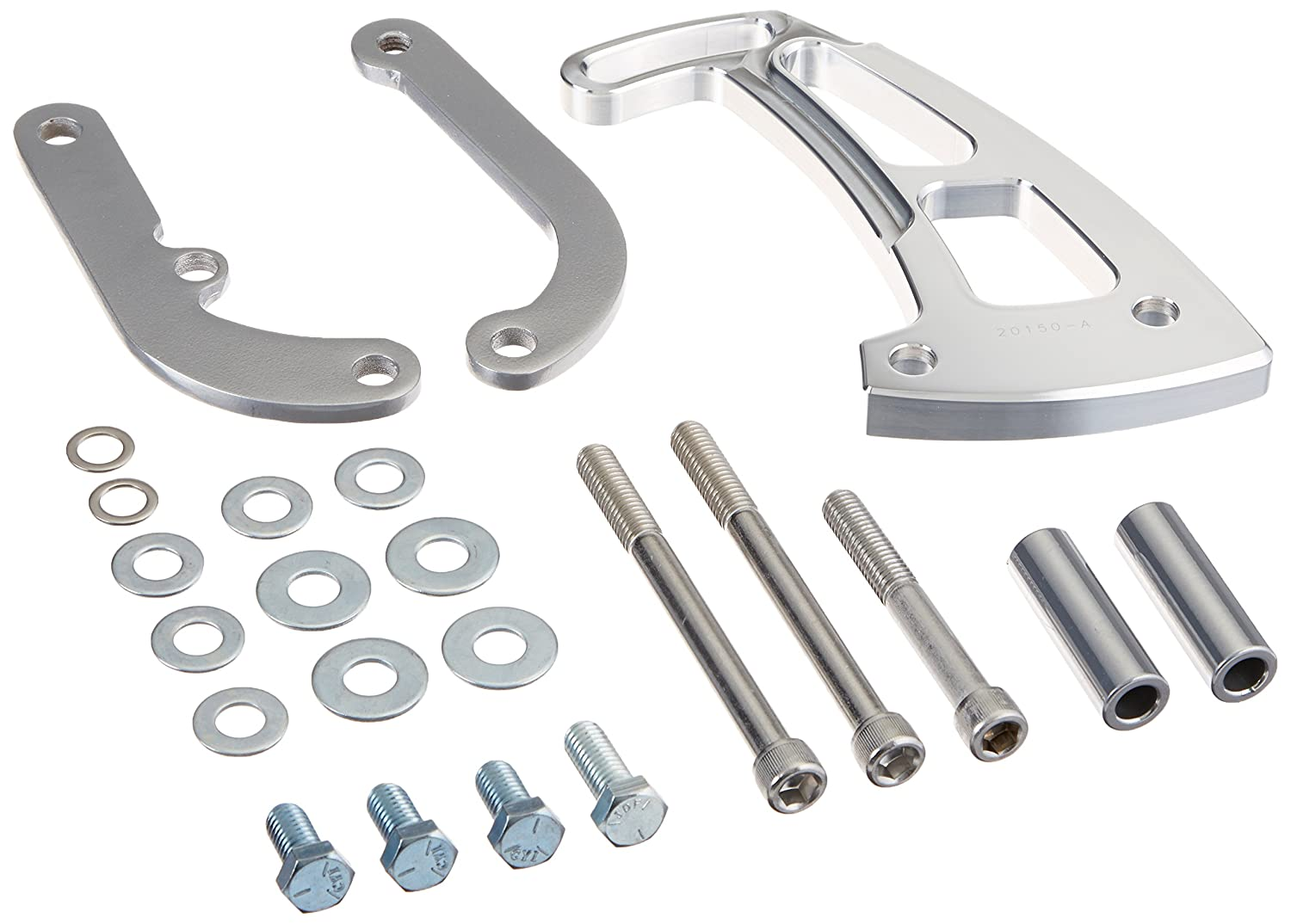 March Performance 20150 Clear Powdercoat Aluminum Front Mount Ultra Power Steering Brackets