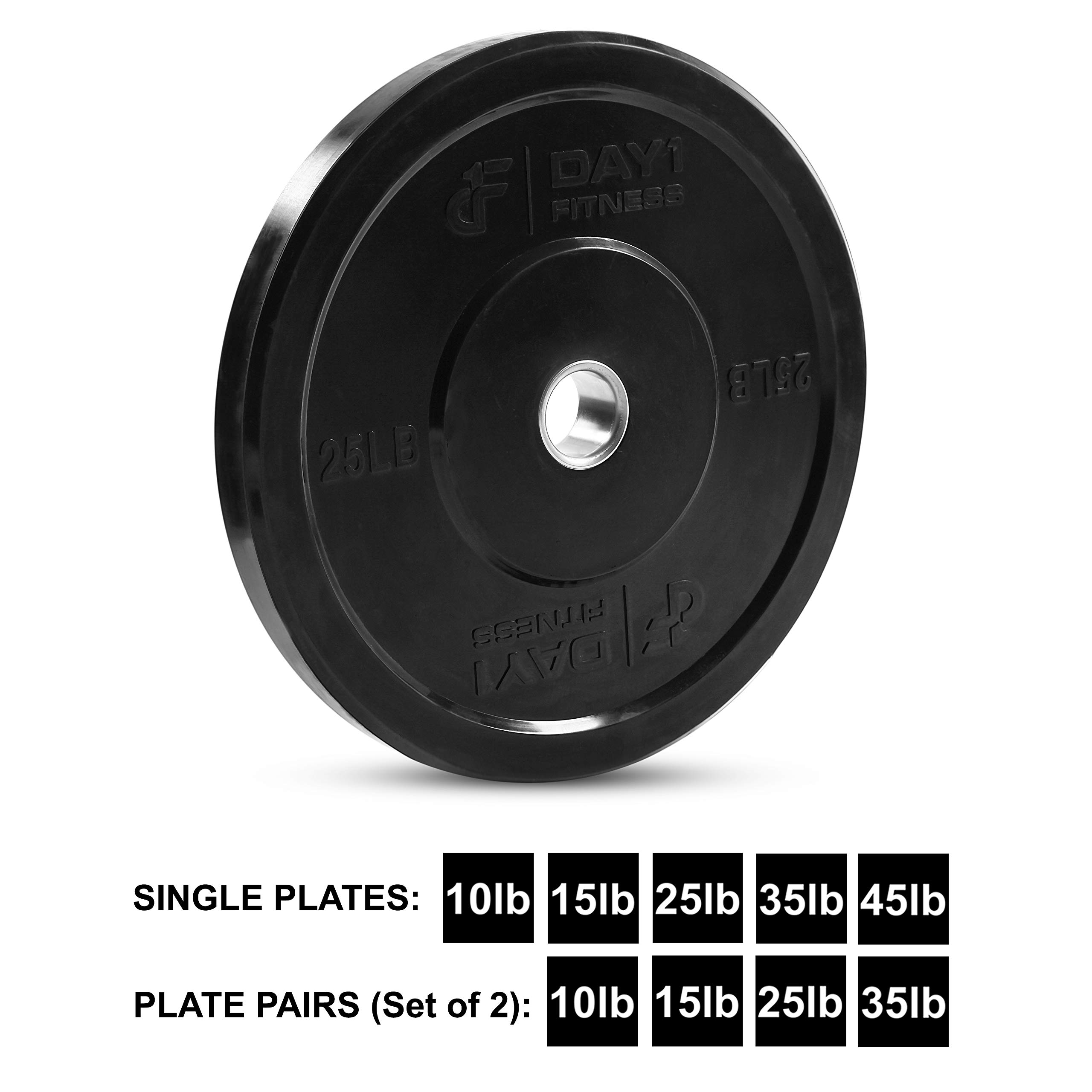 "Day 1 Fitness Olympic Bumper Weighted Plate 2"" for Barbells, Bars – 25 lb Single Plate - Shock-Absorbing, Minimal Bounce Steel Weights with Bumpers for Lifting, Strength Training, and Working Out by Day 1 Fitness (Image #1)"