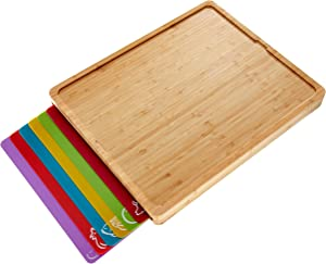 Easy-to-Clean Bamboo Wood Cutting Board with set of 6 Color-Coded Flexible Cutting Mats with Food Icons