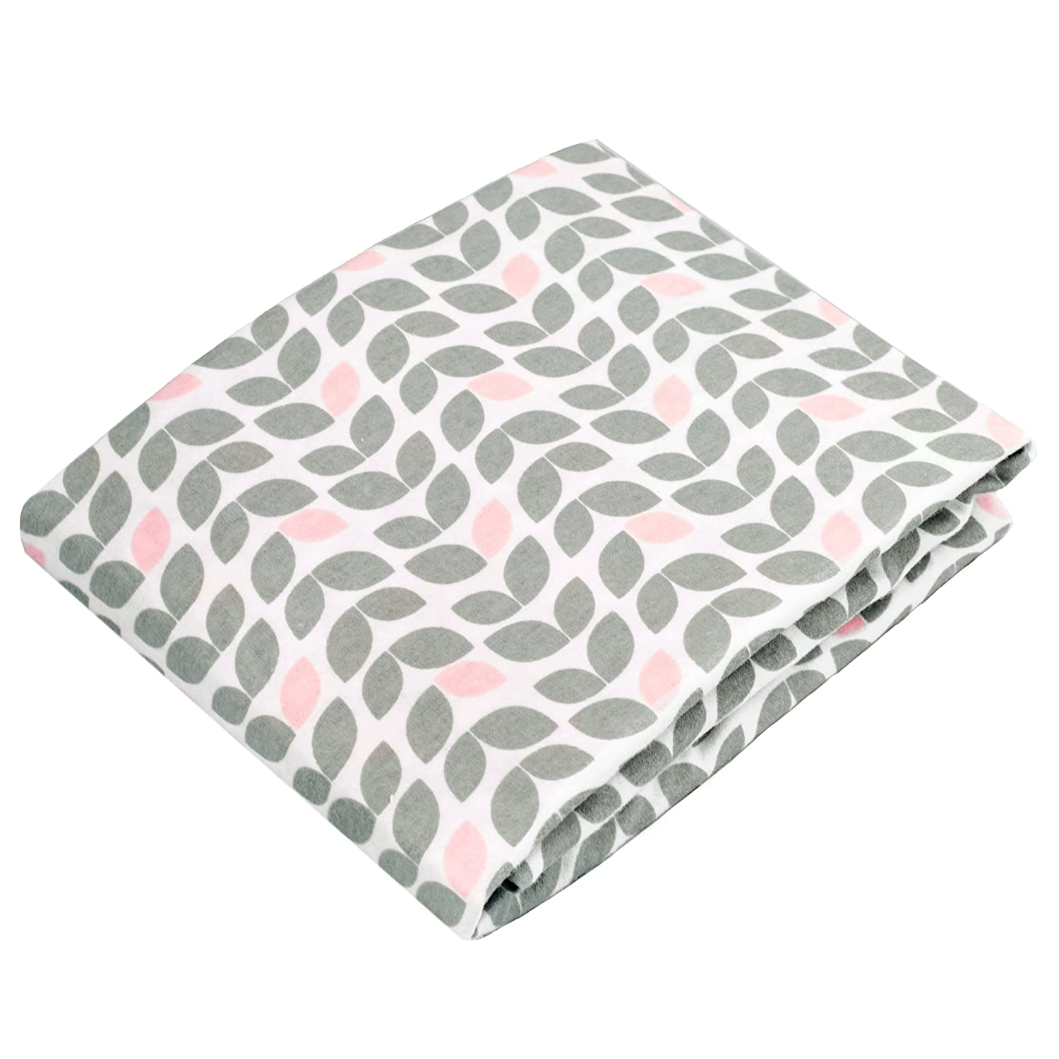Kushies Changing Pad Cover for 1 pad, 100% breathable cotton, Made in Canada, Grey Petal Kushies Baby S340-517