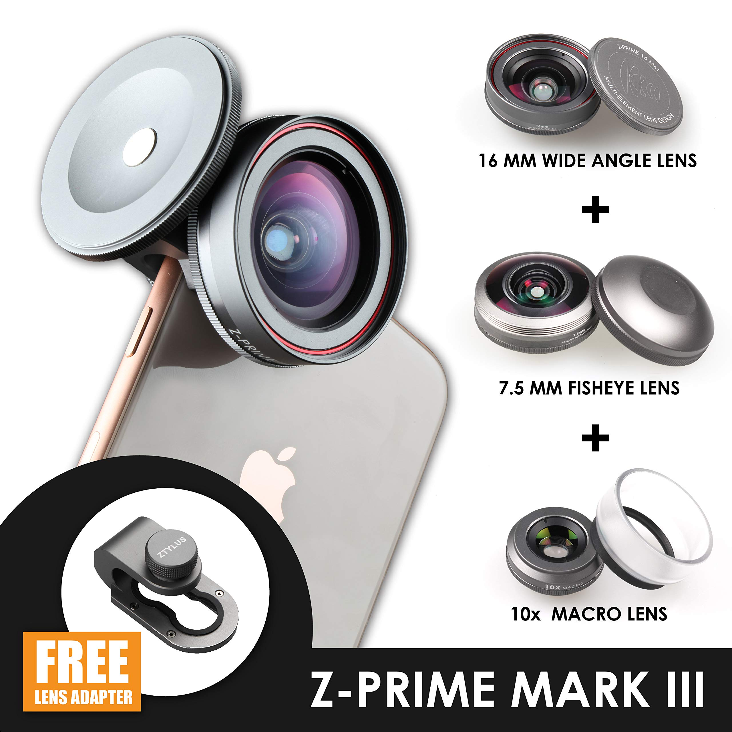 Ztylus Z-Prime Mark III 3+1 Lens Kit for Apple iPhone 7/8 / 7 Plus / 8 Plus/X/XS/XR/XS MAX (Fisheye + Wide Angle + Macro Lens + Lens Clip Adapter) (Mark III)
