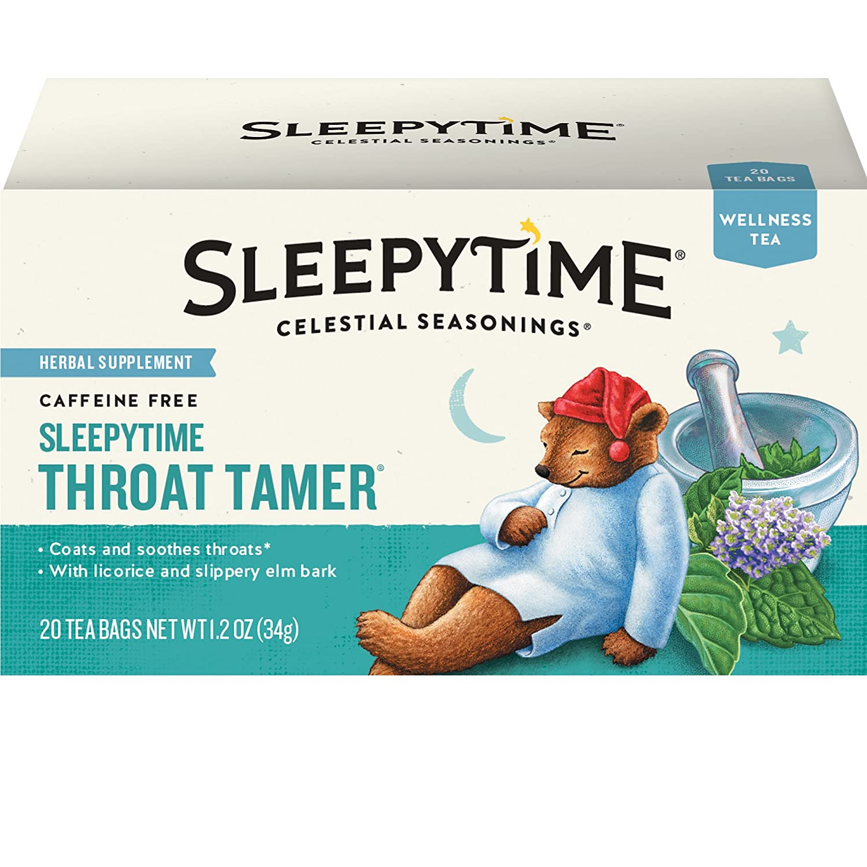 Celestial Seasonings Wellness Tea, Sleepytime Throat Tamer, 20 Count Box