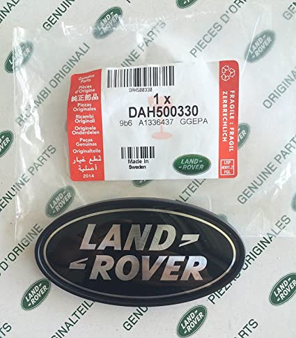 BLACK ON SILVER NEW GENUINE PART DAH500330 LAND ROVER REAR BODY OVAL BADGE