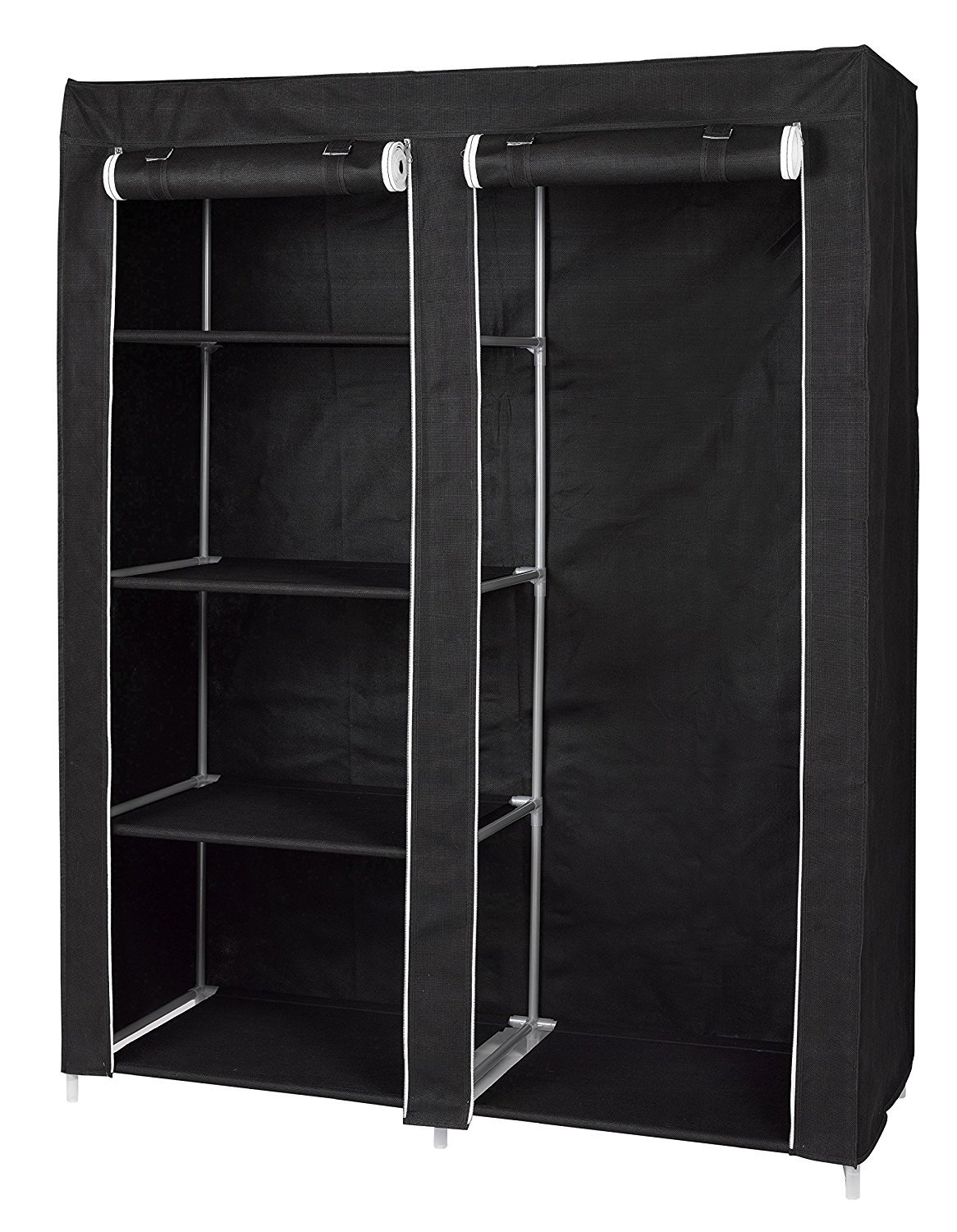 FloridaBrands Portable Closet Wardrobe - 62'' Clothes Closet Storage Organizer and Non-Woven Fabric Standing Wardrobe with Hanging Rack and 4 Shelves for Keeping Clothing Safe, Dust-Proof Cover by by FloridaBrands (Image #2)