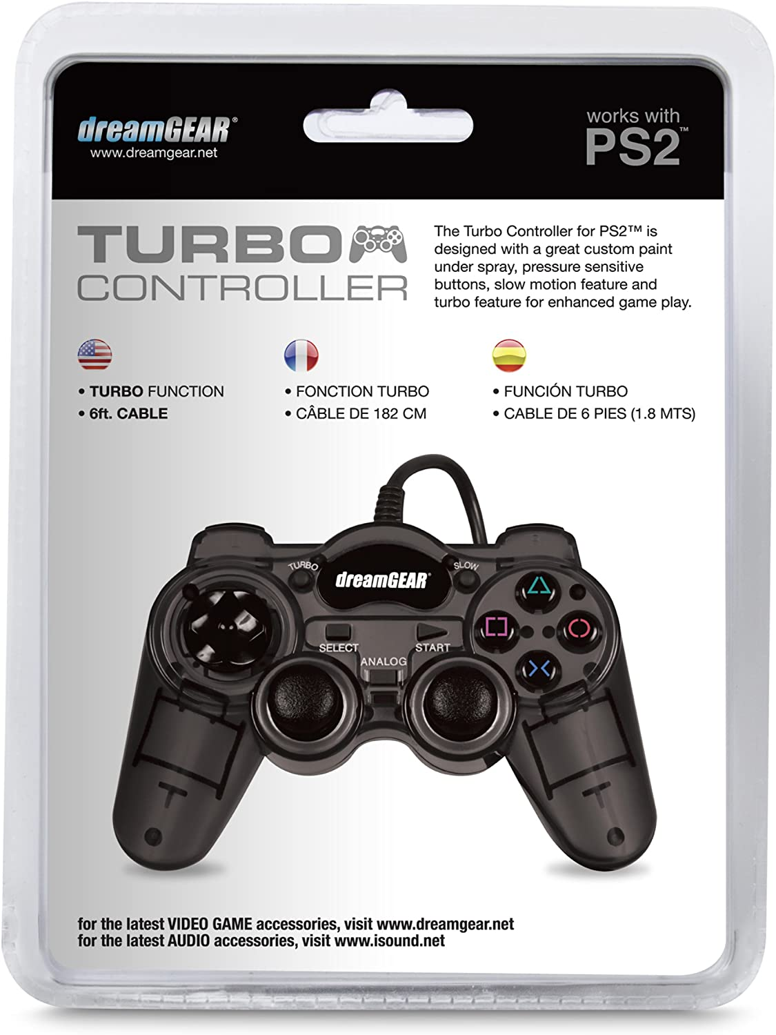 Amazon.com: DreamGEAR PS2 Wired Turbo Controller - Smoke Black: Video Games