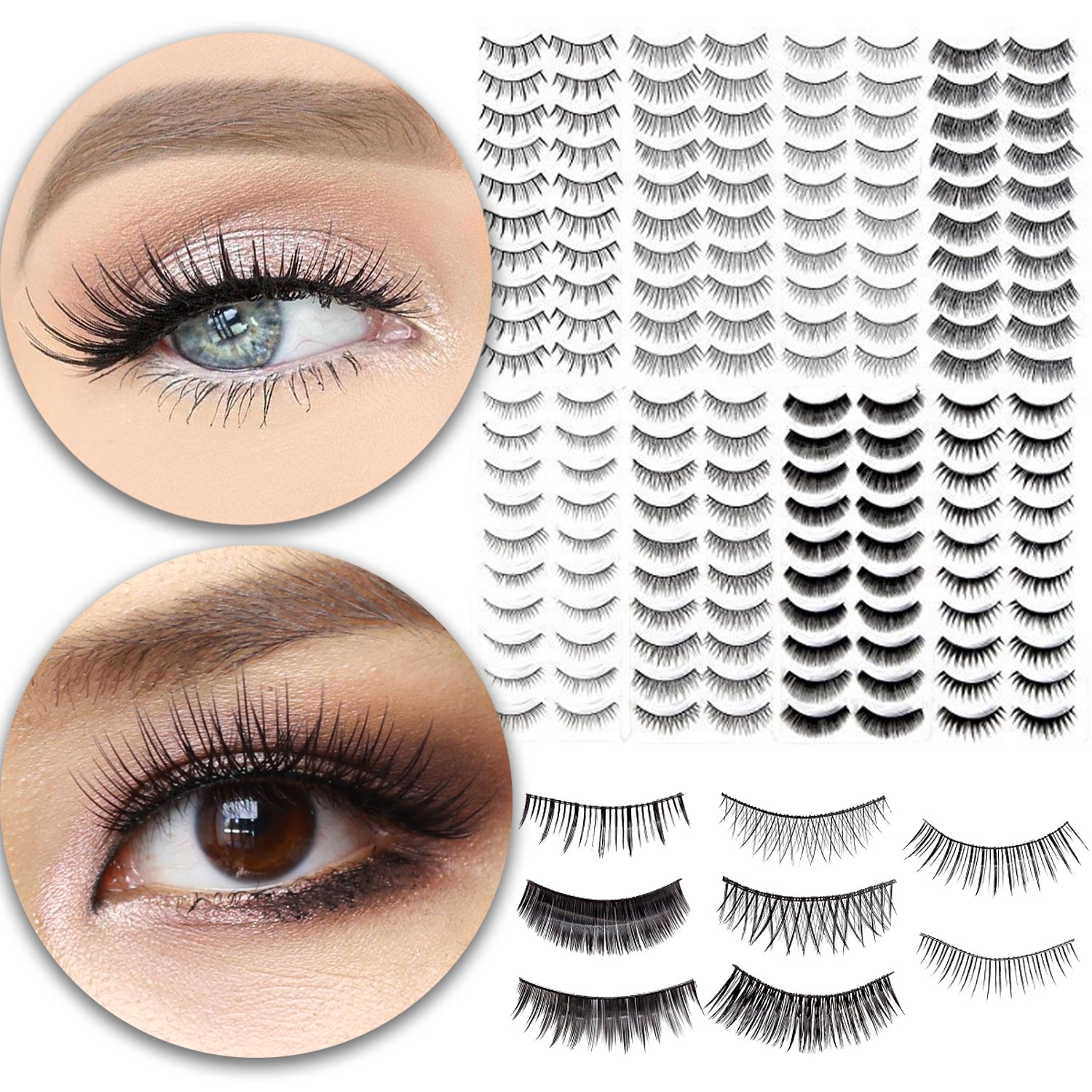 112599a39d3 Amazon.com : Make Up Set of 80 Pairs Fake Eyelashes Classic False Eyes  Lashes Artificial Extensions In 8 Different Styles and Black Color : Beauty