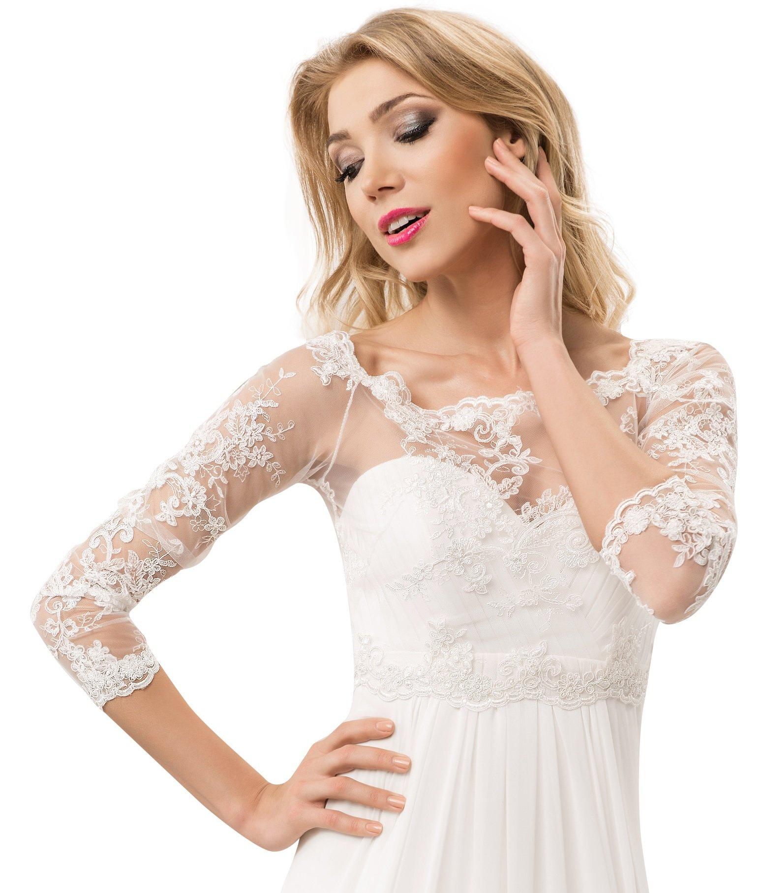 Bridal Lace Up Corset Bolero Shrug Jacket For Wedding Dress With Long Sleeve