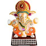 UniqueArt White Stone God Ganesha Car Dashboard Decor Statue   Hindu Idol God Ganesh Ganpati Decor Sculpture   Decorative Gift