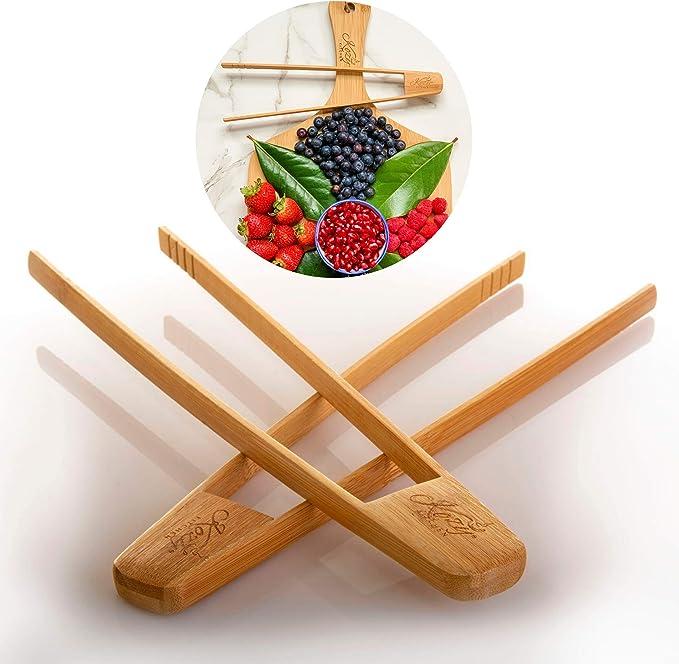 Kitchen Craft Bamboo Tool Toaster Wooden Food Salad Cooking Toast Tongs xiaoz