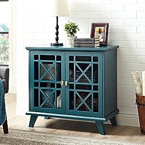 "WE Furniture 32"" Fretwork Accent Console - Blue"