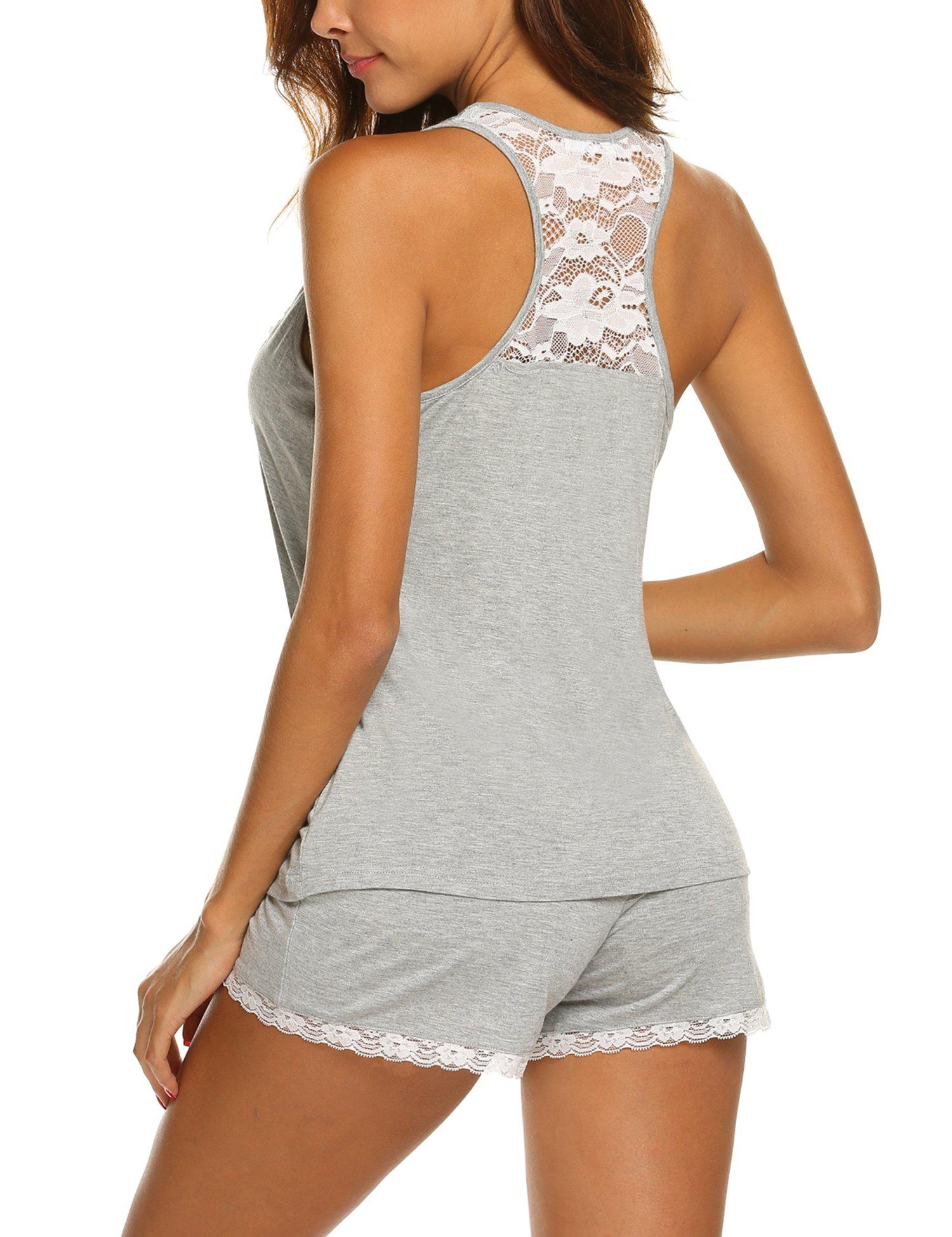 MAXMODA Women\'s Lace Sexy Pajama Set Sleeveless PJ Tank and Shorts Sleepwear Heather Grey S