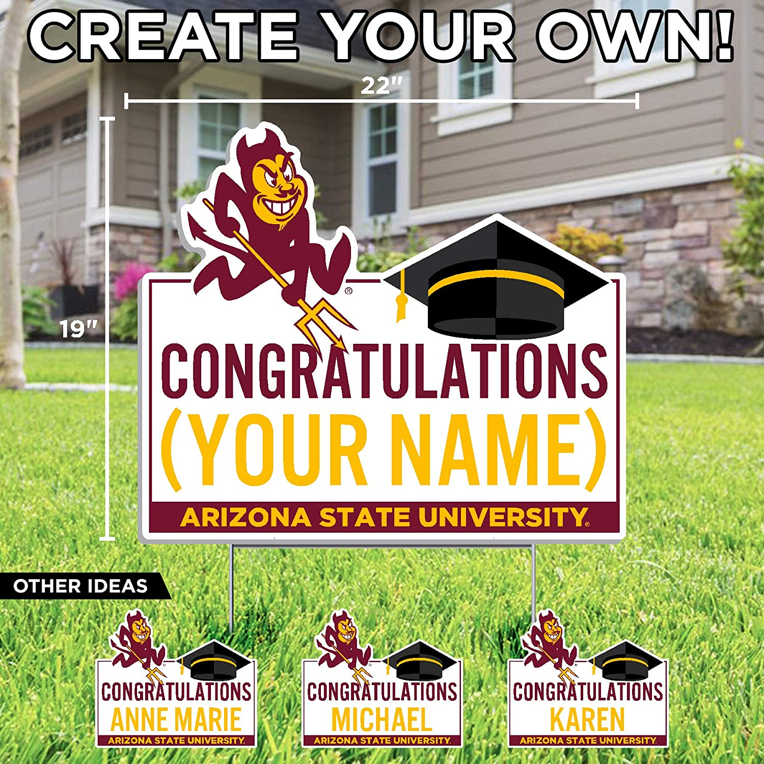 Color Shock Products Personalized Arizona State University Graduation Lawn Sign - Customize with Any Name (Officially Licensed)