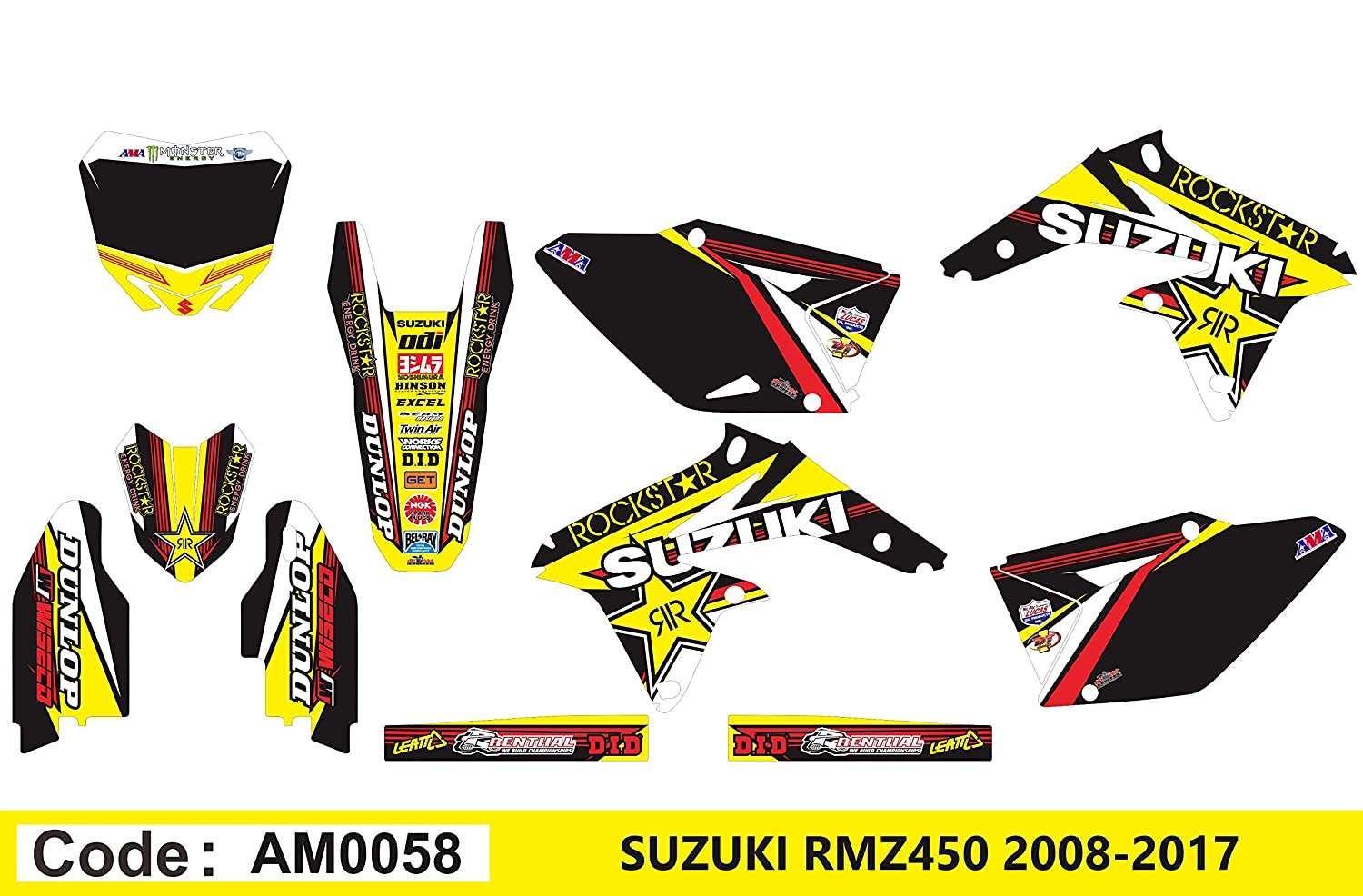 AM0058 SUZUKI RMZ 450 2008-2014'08-14' DECALS STICKERS GRAPHICS KIT Dog Racing Design