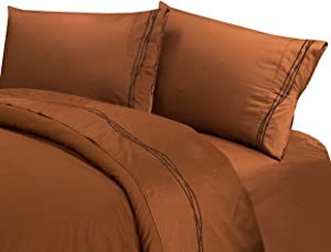 HiEnd Accents Western Barbwire 350 Thread Count Bed Sheet Set, Twin, Copper