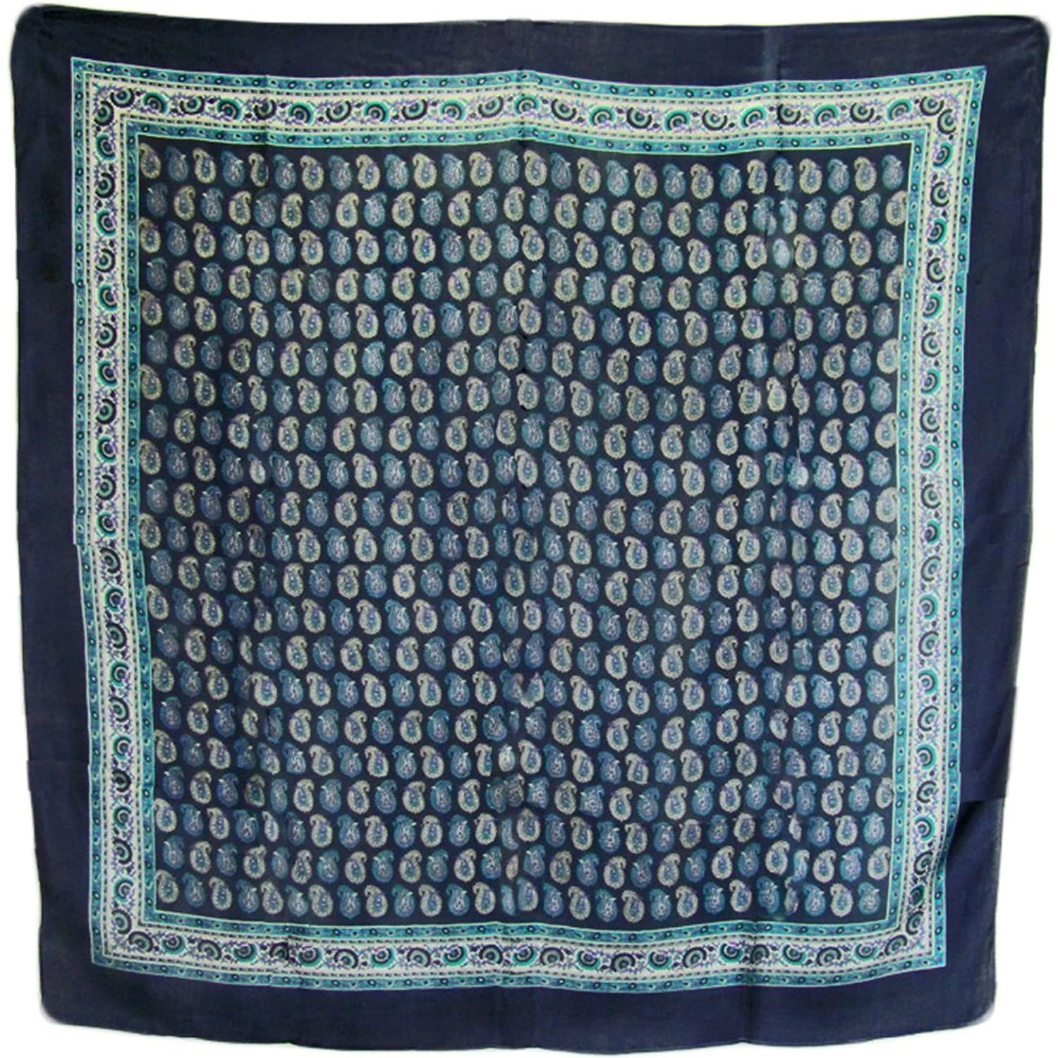 "Indian Classic Ethnic Navy Blue Paisley Print Square Silk Scarf Shawl (40"" x 40"")"