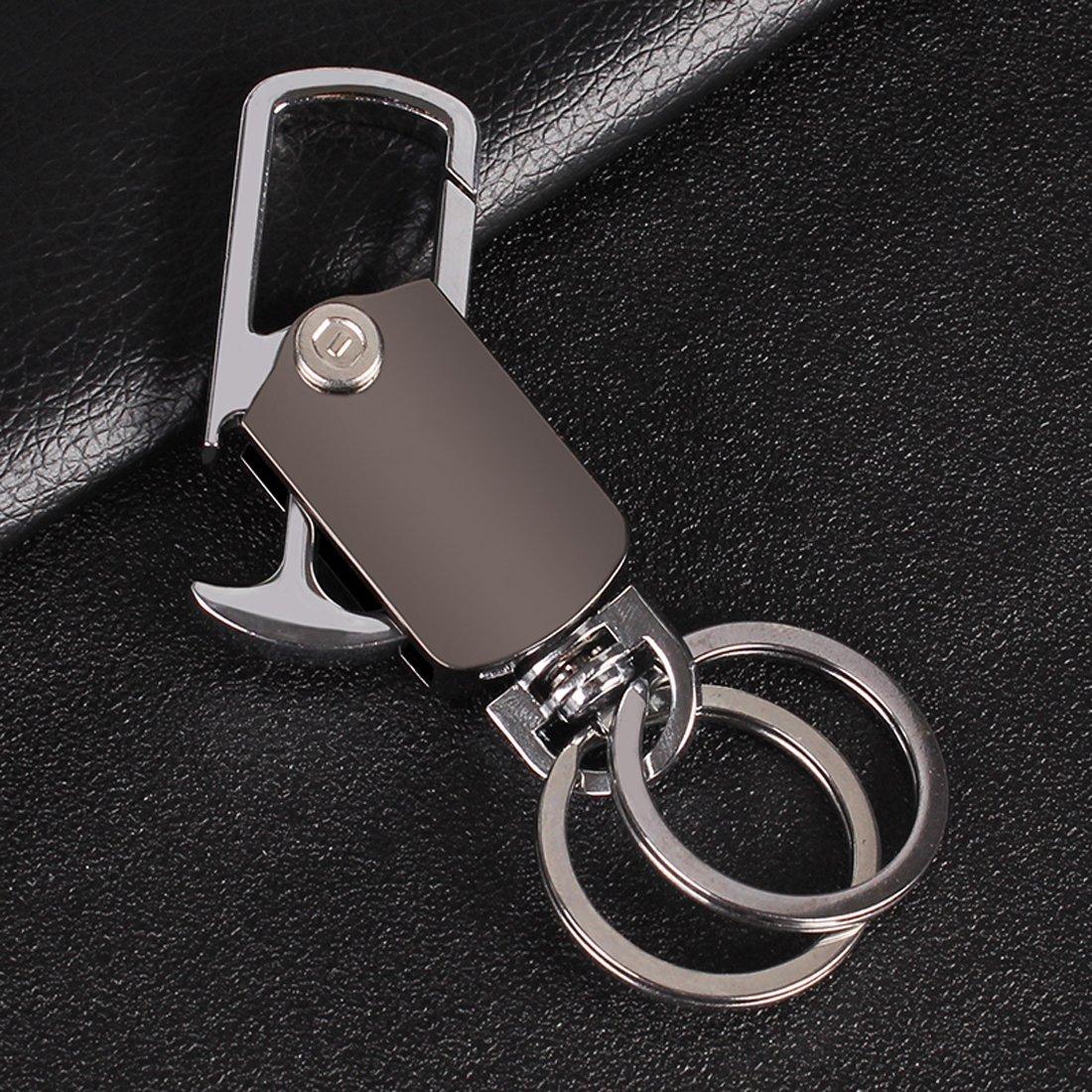 JOFUKIN Key Chain with 2 Key Rings Heavy Duty car Keychain for Mens and Women Gun Black