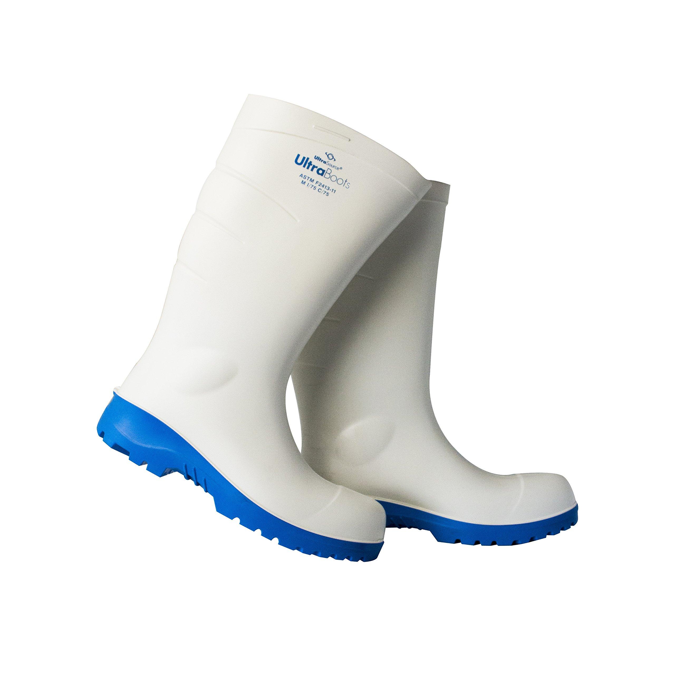 UltraSource Polyurethane Steel Toe Work Boots, White, Size 12