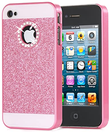 competitive price bb3c3 58777 iPhone 4S Case, iPhone 4 Case, BENTOBEN Glitter Bling Sparkly Rhinestone  Hybrid Slim Hard Cover Laminated with Luxury Shiny Synthetic Leather ...