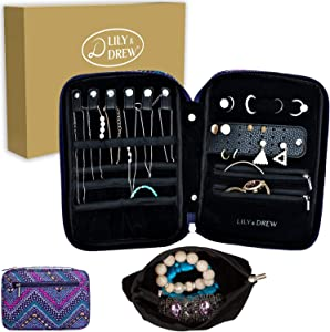 Lily & Drew Travel Jewelry Storage Carrying Case Jewelry Organizer with Removable Pouch, in Gift Box (V1B Aztec Zigzag)