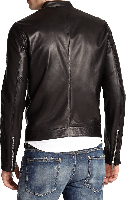 Kingdom Leather Mens Genuine Lambskin Leather Jacket Slim Fit Moto Biker Jacket X264