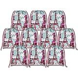 Pink Paris Drawstring Bags Kids Birthday Party Supplies Favor Bags 10 Pack