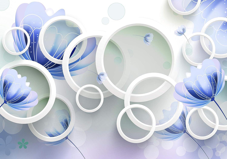 Wandmotiv24 Fototapete Rot Blaumen weiss 3D 3D 3D Kreise M4317 L 300 x 210 cm - 6 Teile Wandbild - Motivtapete B07NKVJ3M5 Wandtattoos & Wandbilder 51ea8a