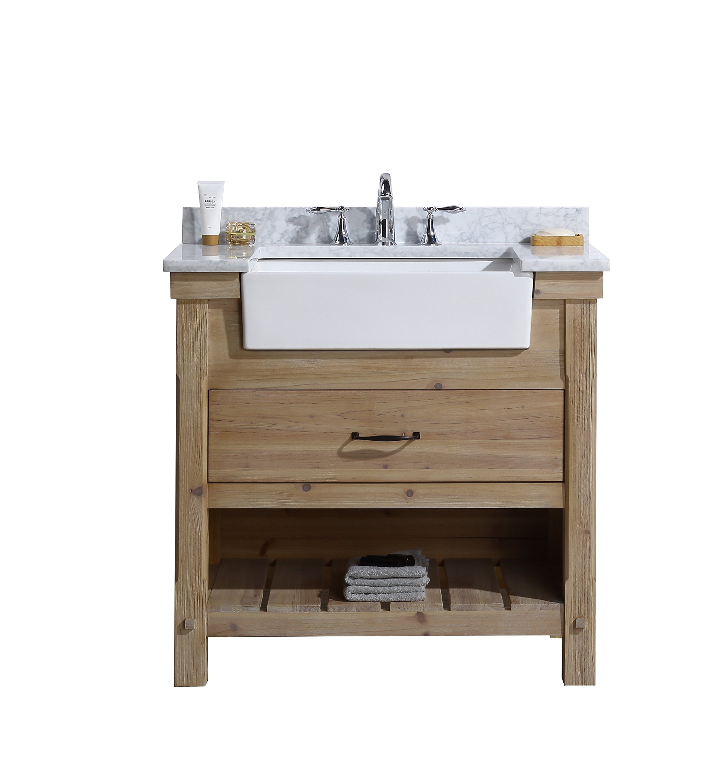 "Ari Kitchen and Bath  Marina Vanity, Driftwood, 36"" W X 22"" D X 34.5"" H - Solid wood Construction using Tenon and mortise Joinery Dovetail Joinery drawers Handcrafted furniture - bathroom-vanities, bathroom-fixtures-hardware, bathroom - 81lruyHPGeL -"