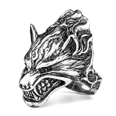 MENDINO Mens Jewellery Vintage Wolf Head Gothic Biker Opening Toothy Personalized Silver Black Stainless Steel Ring Hz5PCAT6