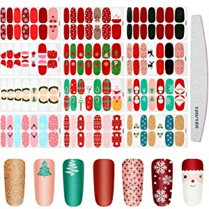 12 Sheets Christmas Full Wrap Nail Stickers Christmas Nail Stickers Strip Nail Polish Stickers Self-Adhesive Nail Decals Strips Full Cover Nail Strips with Nail File for Women Girls Nail Decor
