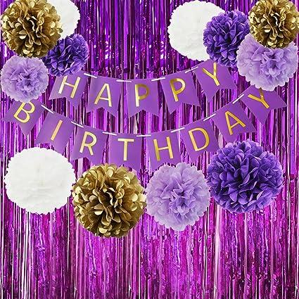 Amazon happy birthday bunting banner purple birthday party happy birthday bunting banner purple birthday party decorations set purple gold white tissue paper pom poms mightylinksfo