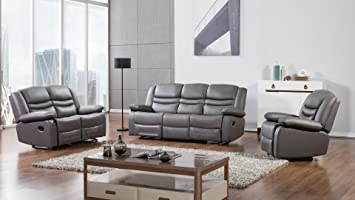 living room furniture amazon. American Eagle Furniture 3 Piece Bayfront Collection Complete Faux Leather  Reclining Living Room Sofa Set Amazon com