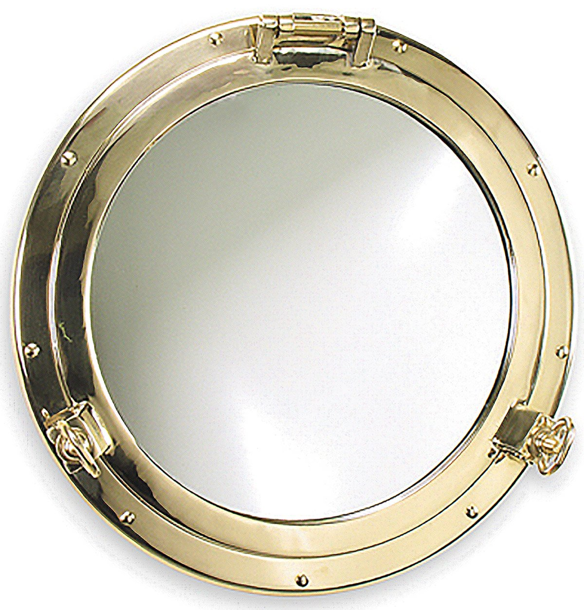 Heavy Duty Solid Brass Porthole Mirror by Shiplights for Interior/Exterior Use (18.5'', Unlacquered Polished Brass)