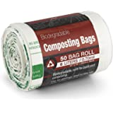 Kitchen Maestro Biodegradable Food Waste Compost Bag and Liner, Roll of 50 Bags (6 Liter Capacity) - Safe for home/backyard composting.
