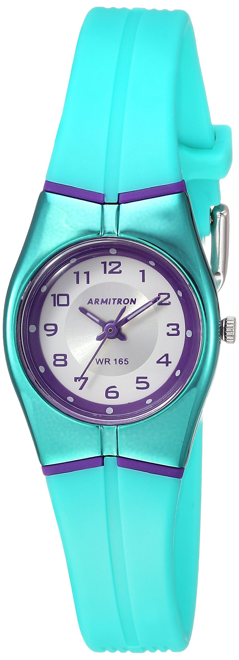 Armitron Sport Women's 25/6355PUR Purple Accented Easy to Read Dial Teal Resin Strap Watch