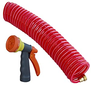 """TABOR TOOLS Coil Garden Hose,25 FT Retractable Recoil Watering Hose with 8-Pattern Spray Nozzle, Corrosion Resistant 3/4"""" Solid Brass Connectors, Lightweight and Durable. WK25A"""