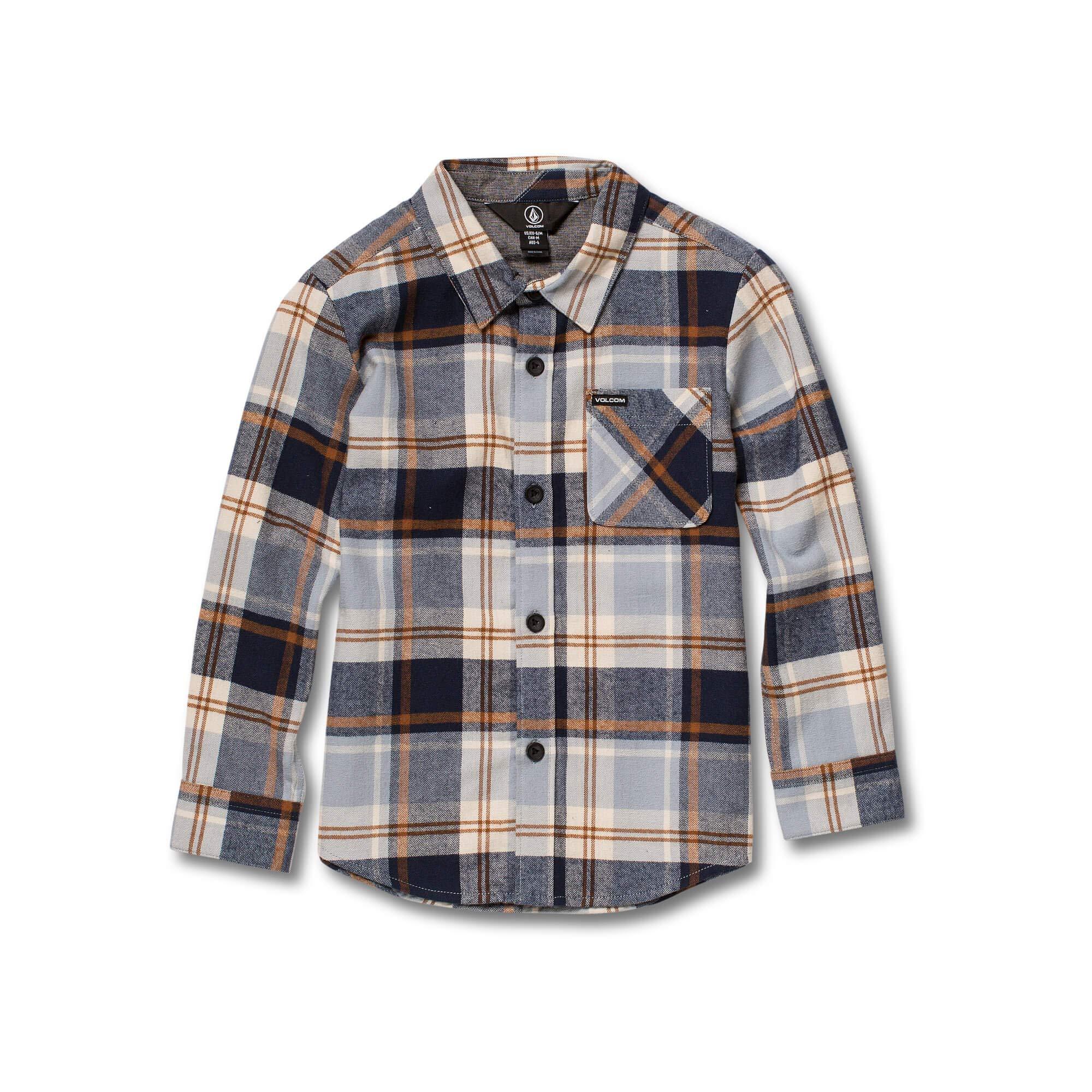 Volcom Little Boys' Caden Plaid Long Sleeve Flannel Button Up Shirt, Slate Blue, 2T