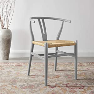 Modway Amish Dining Wood Side Chair, Light Gray