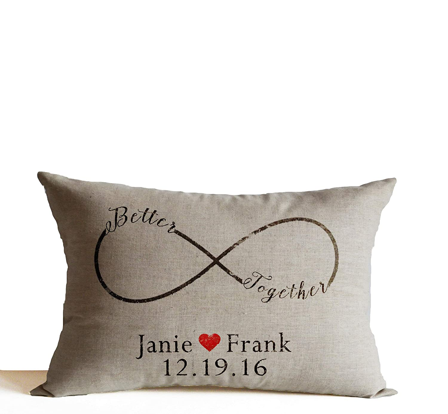 date Wifey Since Pair Cushion Covers Hubby Personalise Gift Idea Anniversary