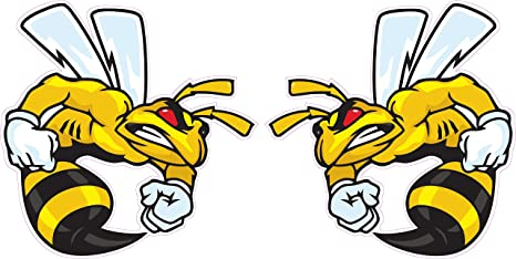 /'/'SIZES/'/' Angry Bee Car Bumper Sticker Decal