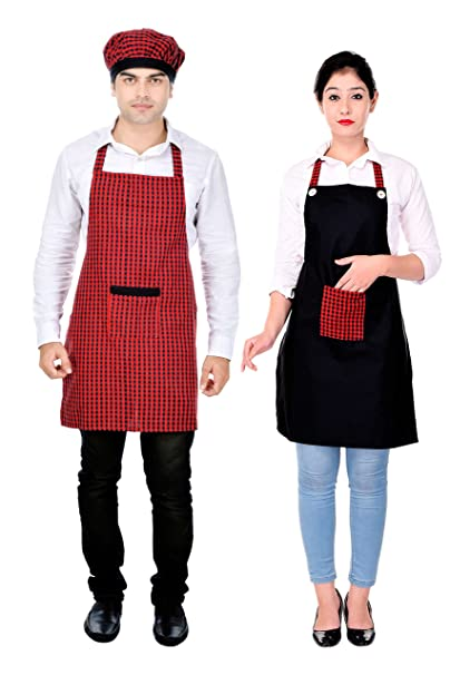 Switchon Red and Black Checks Cotton and Polyester Kitchen Apron Kitchen Aprons at amazon