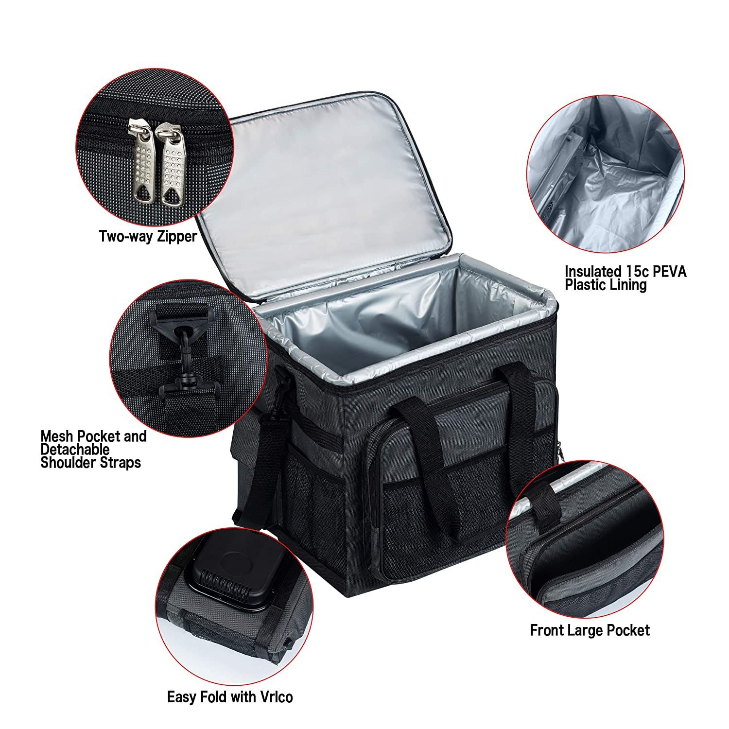 Electric Cooler Bag Collapsible Portable Thermoelectric Car Connect Refrigerator Keep Hot//Cold//Fresh for Hours Folding Waterproof Insulation Soft-Sided Bag with Large Capacity for Travel NEW ARRIAL!