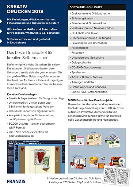 Franzis Kreativ Drucken 2018 Software Mt 66 Amazon De Software
